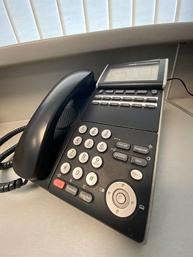 Reception phone at Parkhill Dental Practice