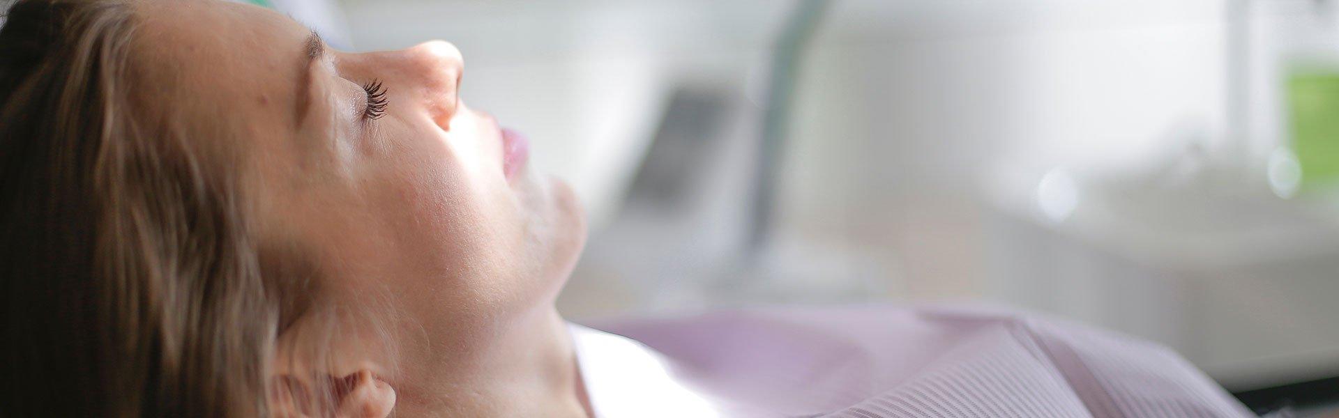Woman lying in a dental chair